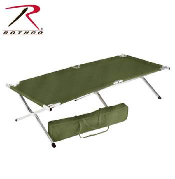Rothco's G.I. Over-sized Folding Cot features a heavy duty Aluminum frame with a center support bar and Polyester carrying case.