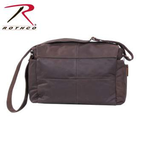"Rothco's Brown Leather Classic Messenger Bag is made with a premium rugged leather material that is both durable and stylish. The bag features one large main compartment with an interior pocket, 2 front open top pockets, 2 side pockets with snap closure, front flap with snap closure, 2"" wide adjustable leather shoulder strap and the bag features antique brass hardware."