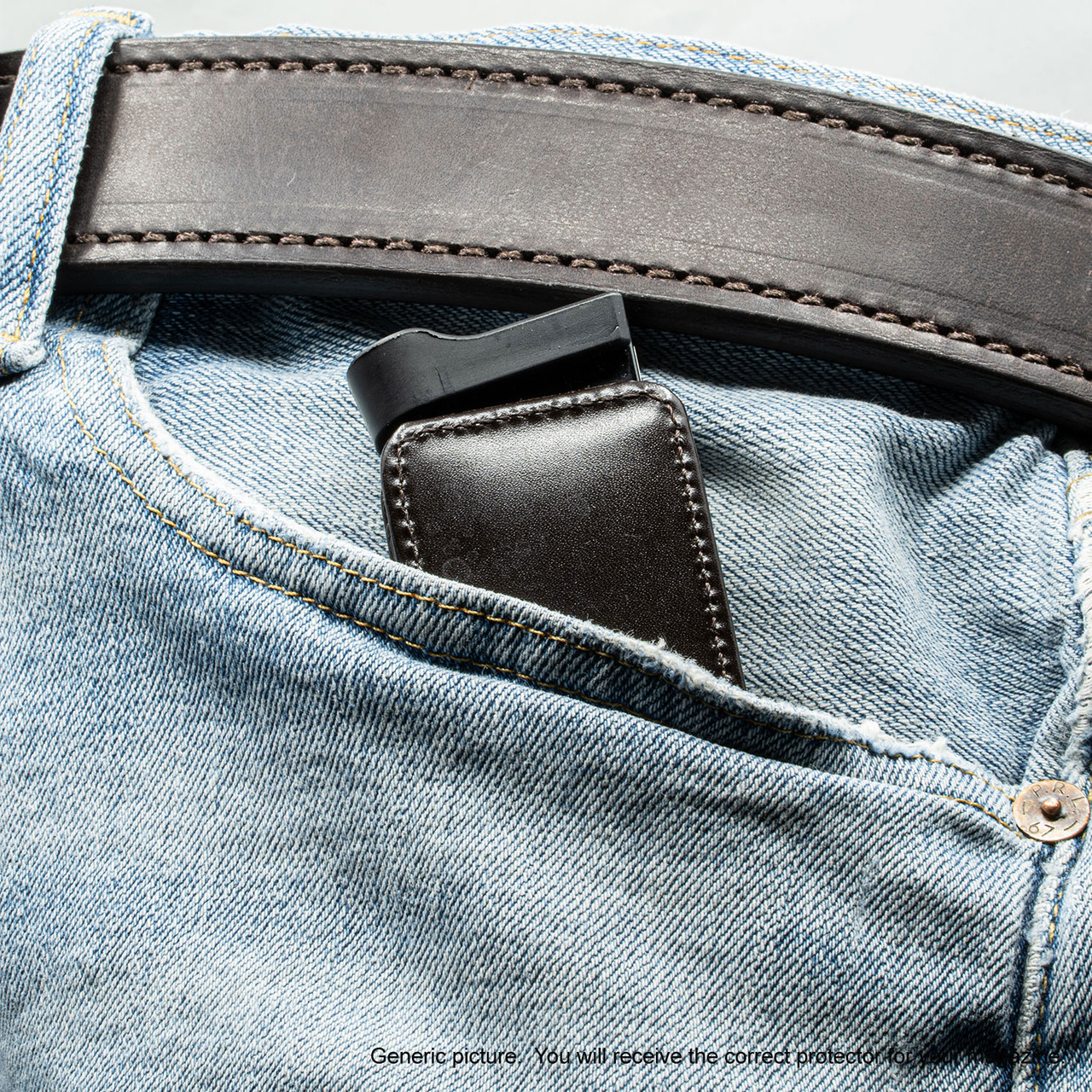 Glock 43X Brown Leather Magazine Pocket Protector
