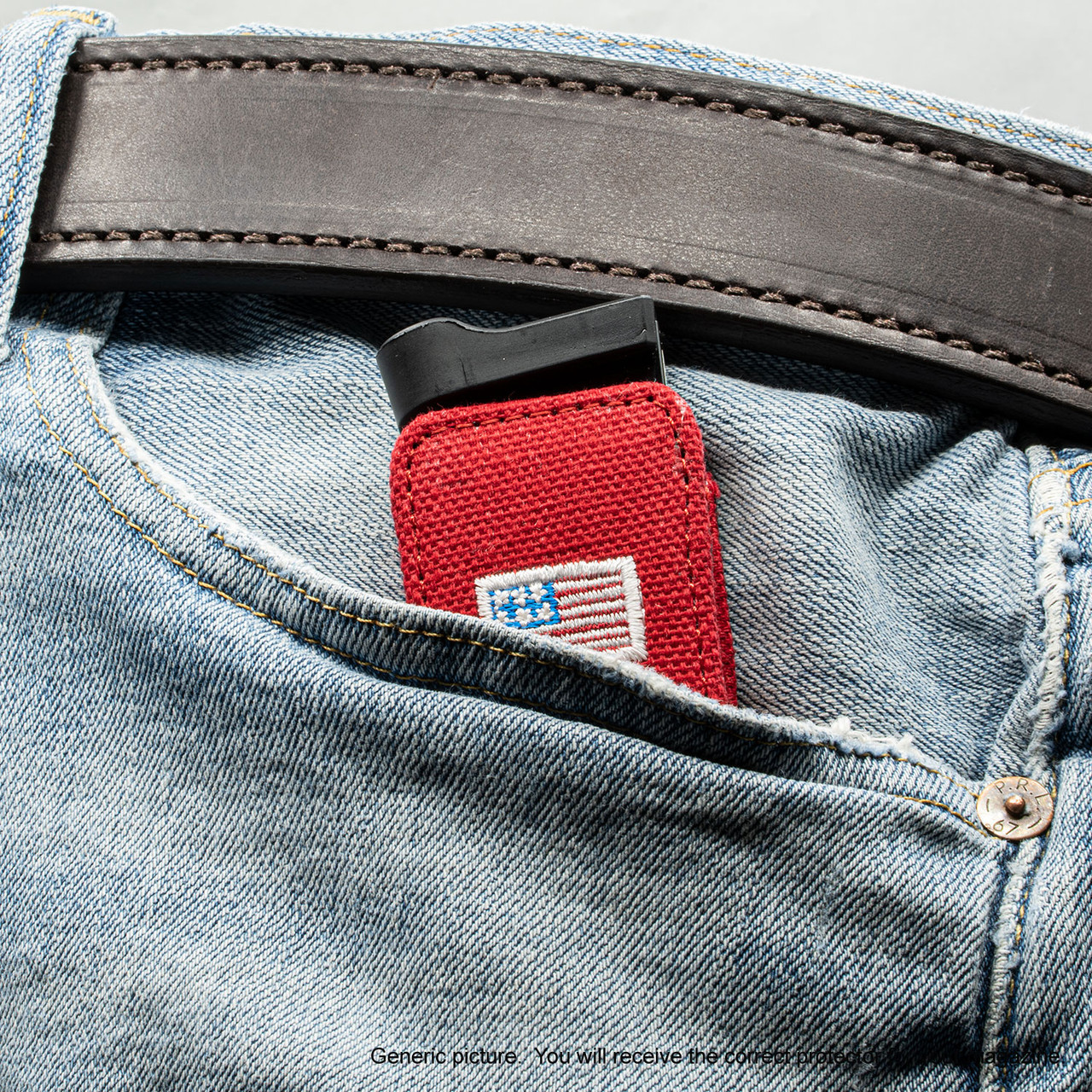 Glock 26 Red Canvas Flag Magazine Pocket Protector