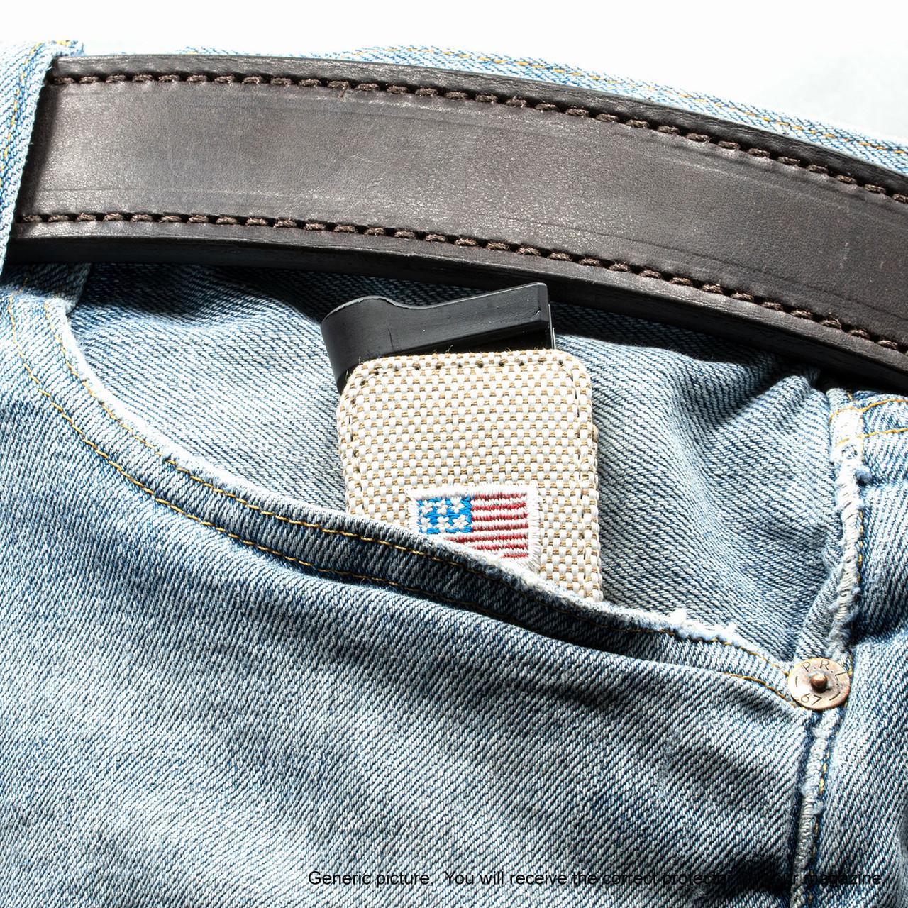 Kimber Ultra Carry II Tan Canvas Flag Magazine Pocket Protector