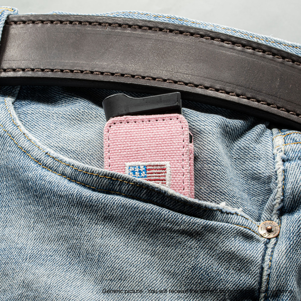 Ruger LCP MAX Pink Canvas Flag Magazine Pocket Protector