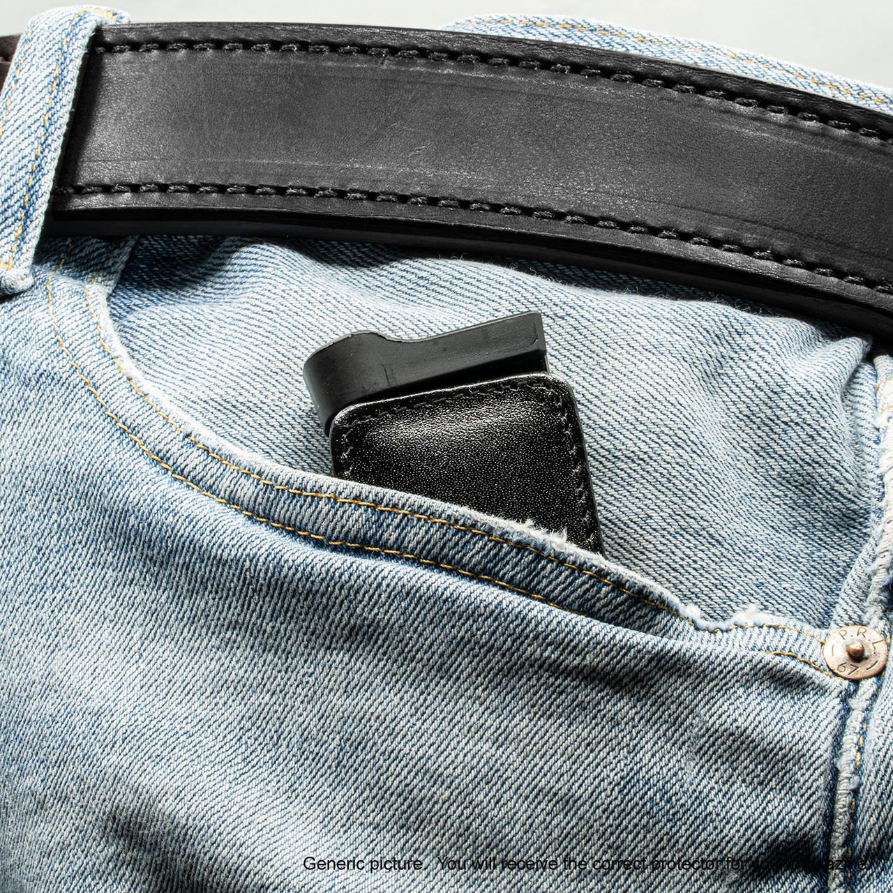 Glock 43X Black Leather Magazine Pocket Protector
