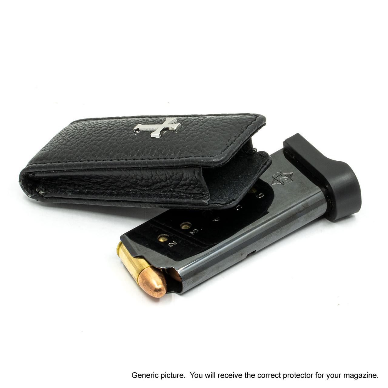Kahr PM45 Black Leather Cross Magazine Pocket Protector