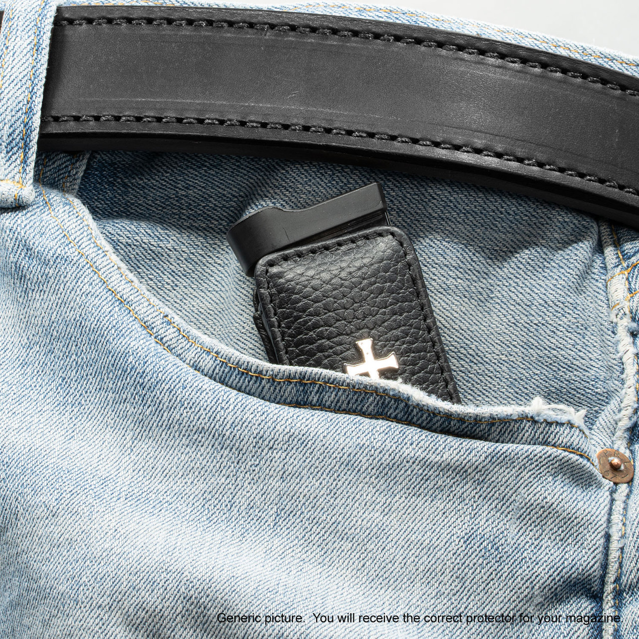 M&P Shield 9mm Black Leather Cross Magazine Pocket Protector