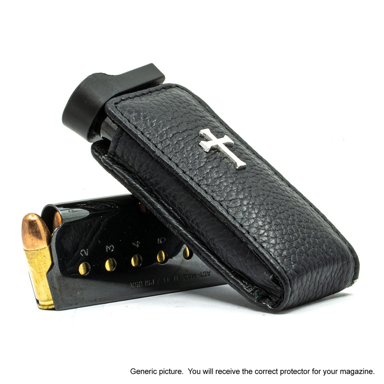 Walther PPK/S Black Leather Cross Magazine Pocket Protector