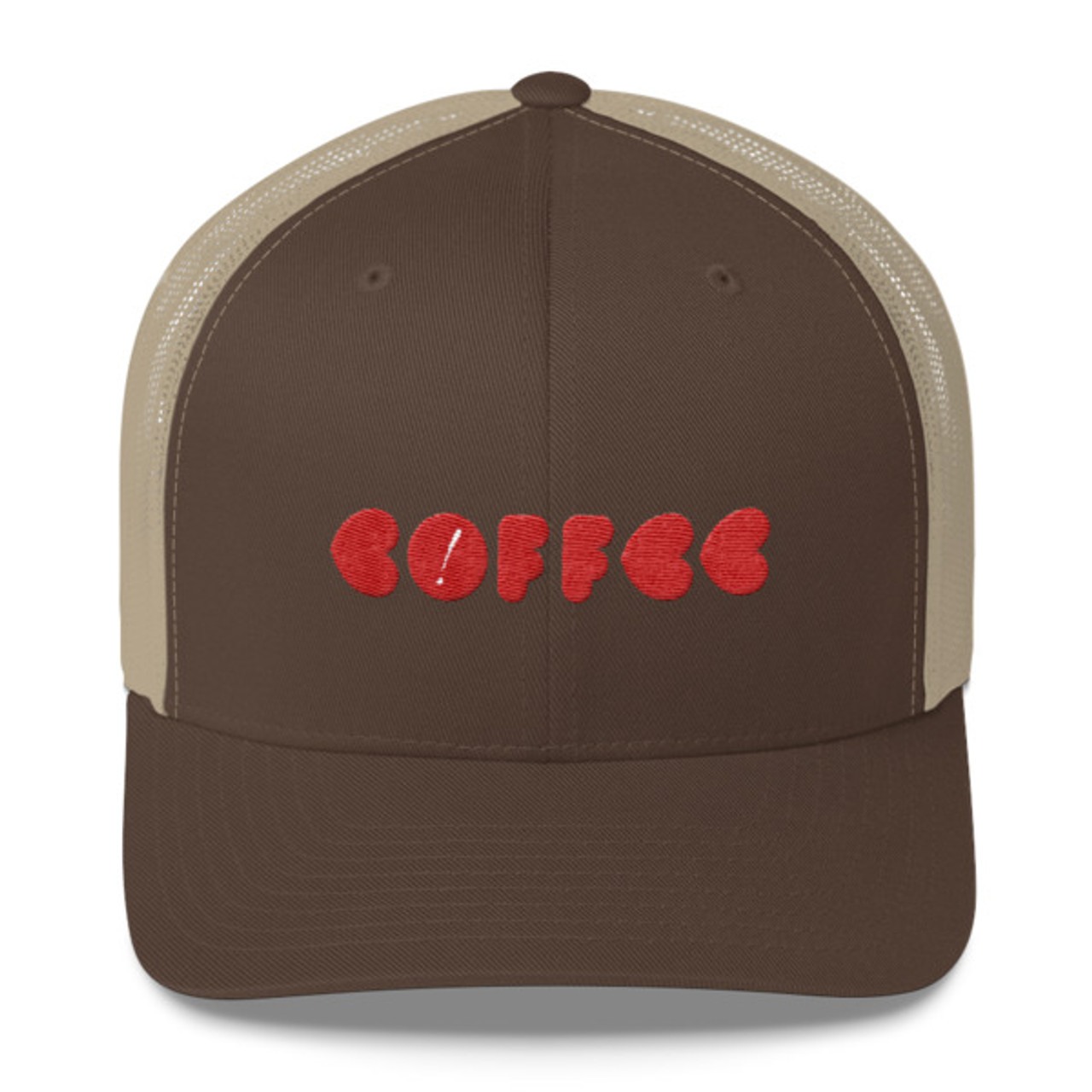 df8eec64db6ee A trucker cap with embroidered Gimme design. The front and brim of the cap  are
