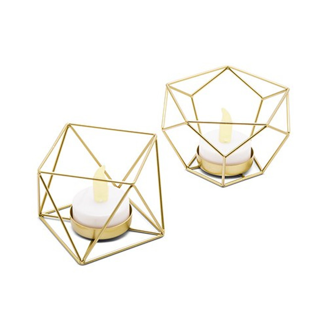 Gold Geometric Candle Holder - Modern Centerpiece - Small
