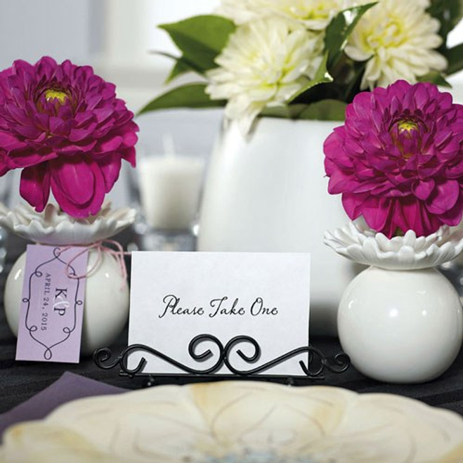 Black Table Number Holders in Ornamental Wire - Short