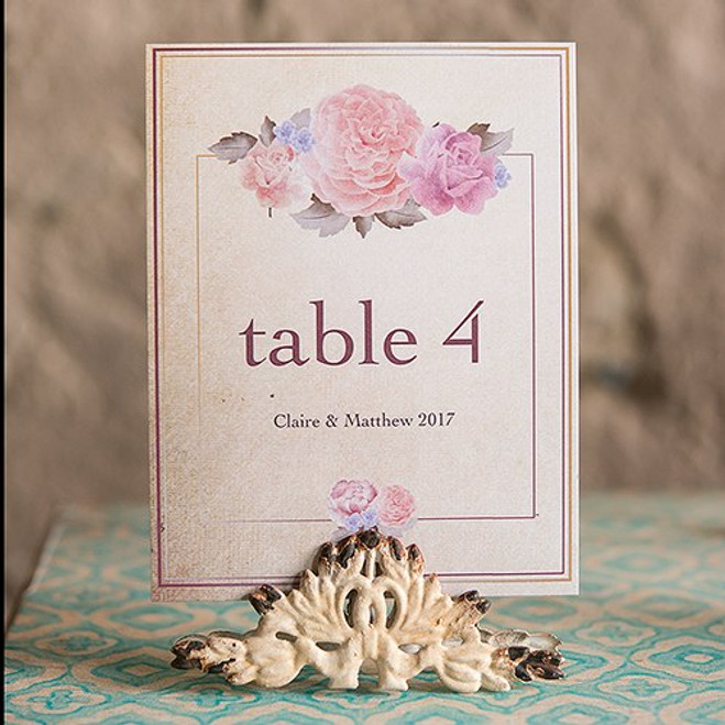 Vintage Table Number Holders in Antique White