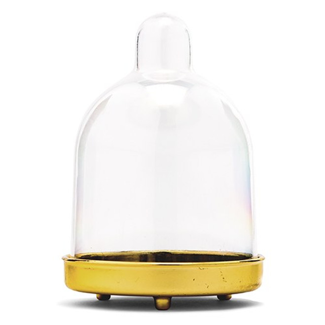 Mini Glass Bell Jar - Cupcake Cloche - Gold