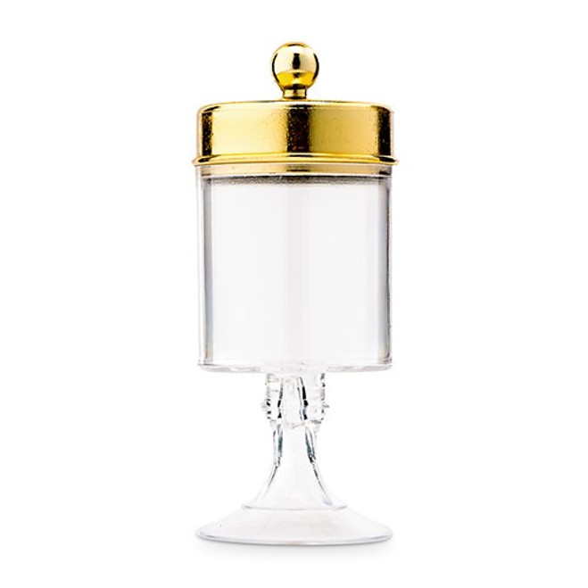 Gold Cylinder Favor Containers with Pedestal