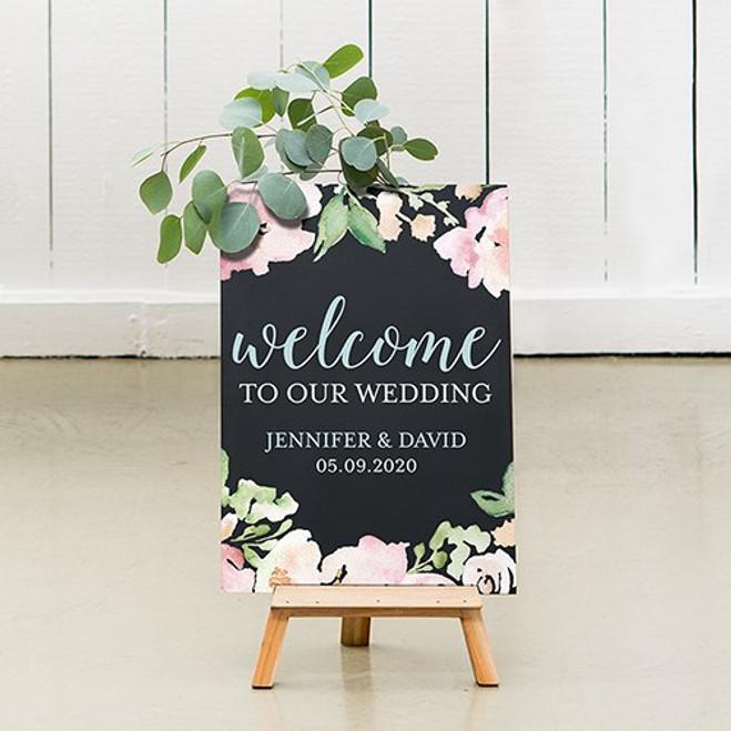 Chalkboard Wedding Sign - Welcome Floral