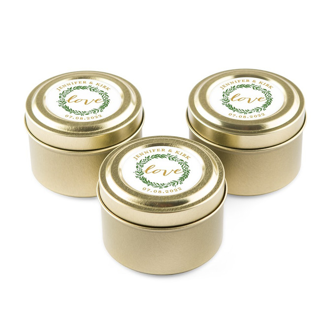 Personalized Candle Favors in Gold Tin - Love Wreath