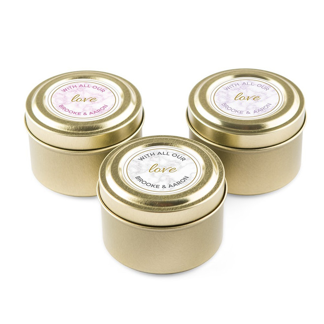 Personalized Candle Favors in Gold Tin - Marble