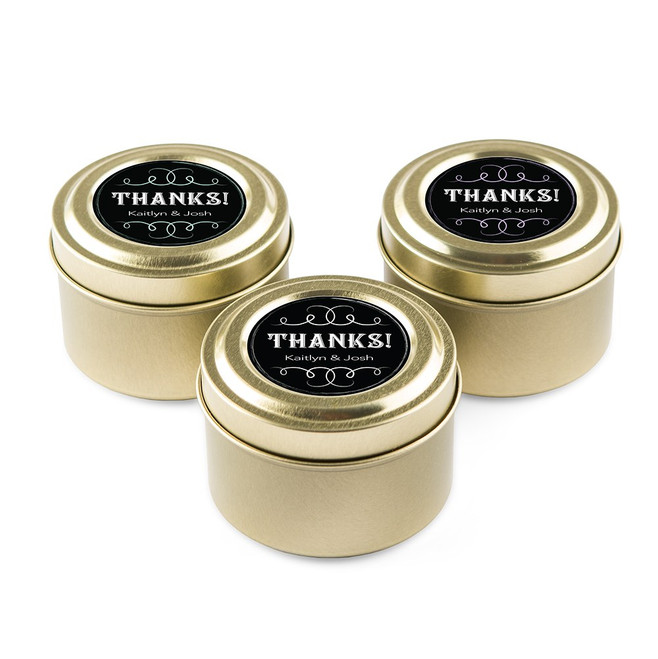 Personalized Candle Favors in Gold Tin - Chalkboard