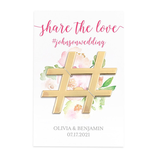 Gold Hashtag Bottle Opener Wedding Favor - Share the Love