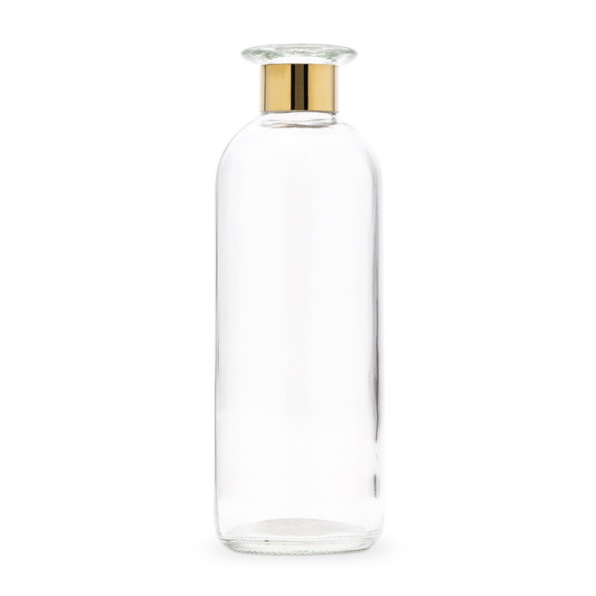 Clear Glass Bottle Vase with Gold Band - Round