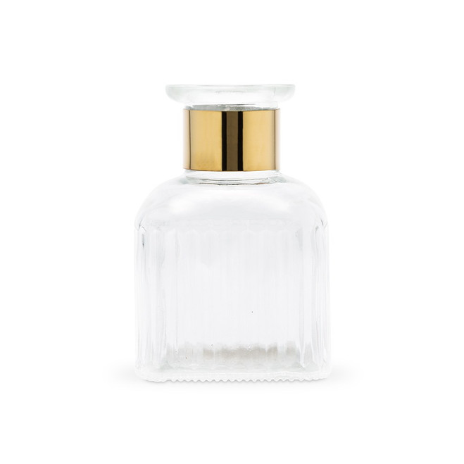 Clear Glass Bottle Vase with Gold Band - Square