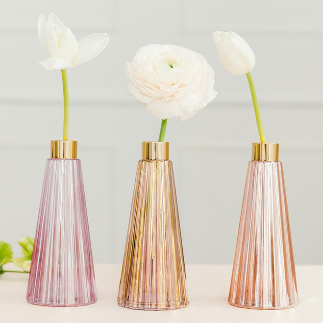 Tapered Glass Bud Vases in Shades of Pink  - Reception Decor
