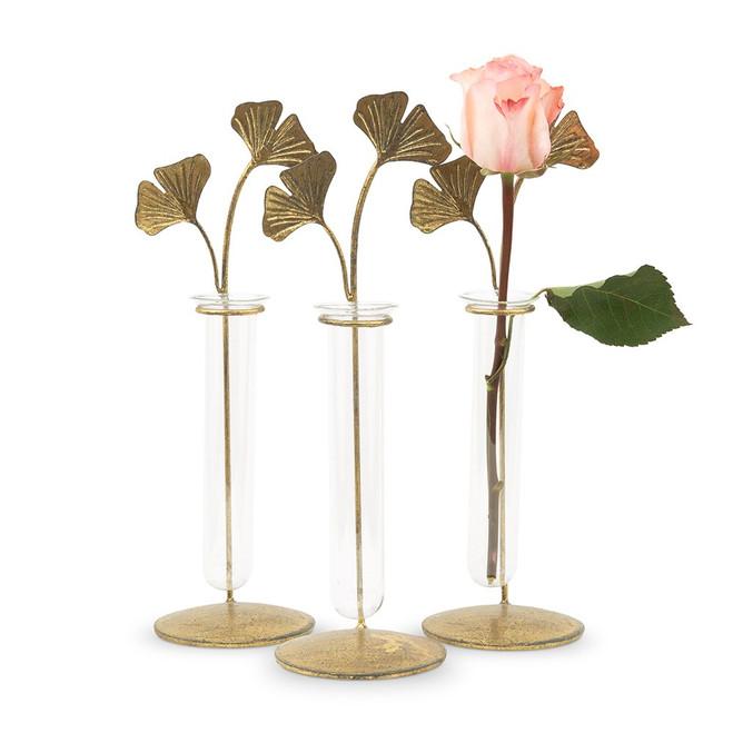 Gold Leaf Test Tube Flower Vases Set
