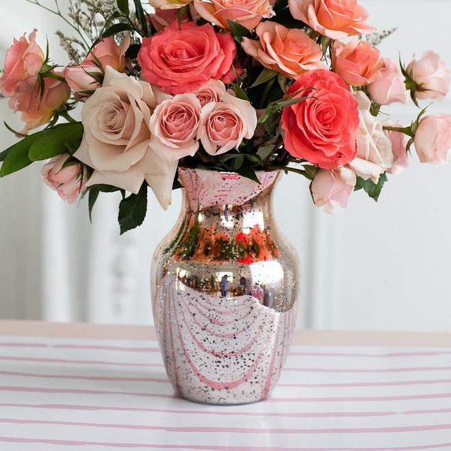Mercury Glass Vases in Rose Gold - Centerpiece