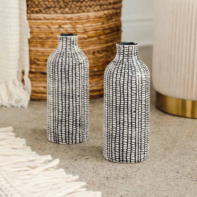 Black Vases with Tribal Pattern - Centerpiece