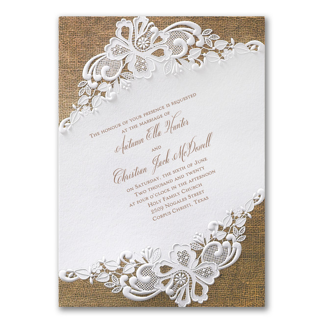 Rustic Wedding Invitations - Rustic Battenburg Lace