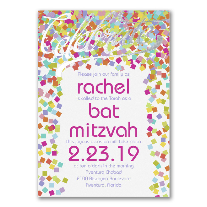 Bat Mitzvah Invitations - Bright Confetti