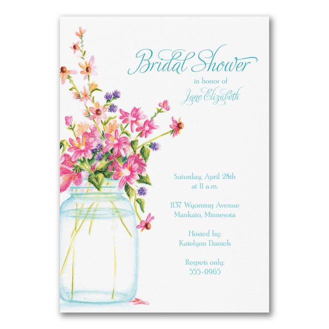 Bridal Shower Invitations - Jar of Flowers