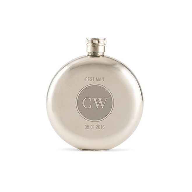 Personalized Round Flask in Silver - Circle Monogram