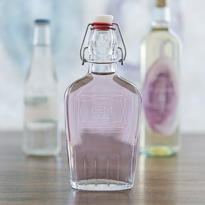 Personalized Glass Hip Flask - Gem - Bridesmaid or Groomsmen Gift