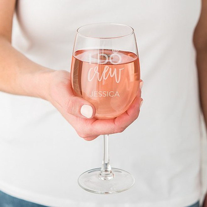 Personalized Wedding Wine Glass - I Do Crew