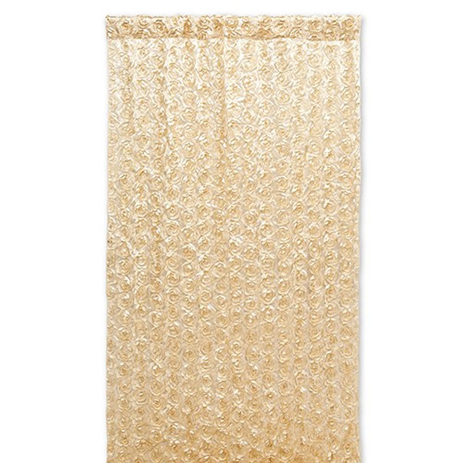 Satin Wedding Photo Backdrop - Champagne Gold Flowers