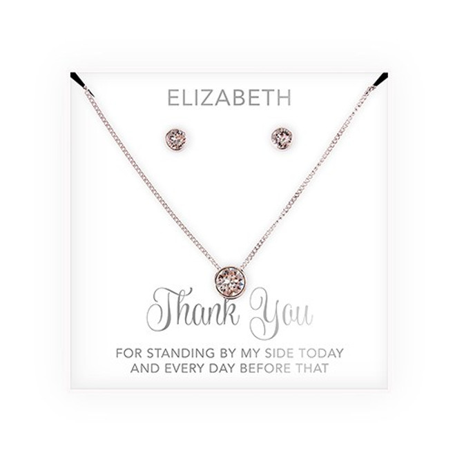 Swarovski Crystal Earrings & Necklace - Bridesmaid Gift - Thank You Script