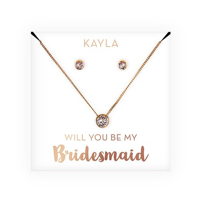 Swarovski Crystal Earrings & Necklace - Bridesmaid Gift - Be My Bridesmaid?