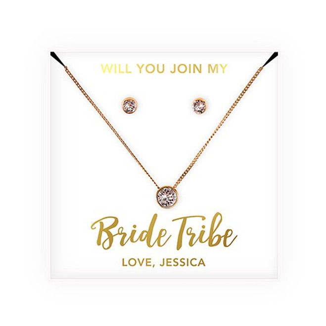 Swarovski Crystal Earrings & Necklace - Bridesmaid Gift - Bride Tribe