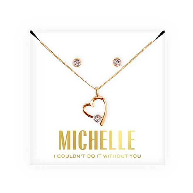 Swarovski Crystal Heart Jewelry Set - Bridesmaid Gift - Couldn't Do It