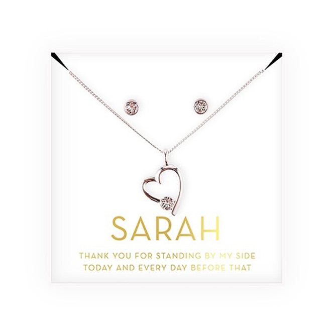 Swarovski Crystal Heart Jewelry Set - Bridesmaid Gift - Thank You