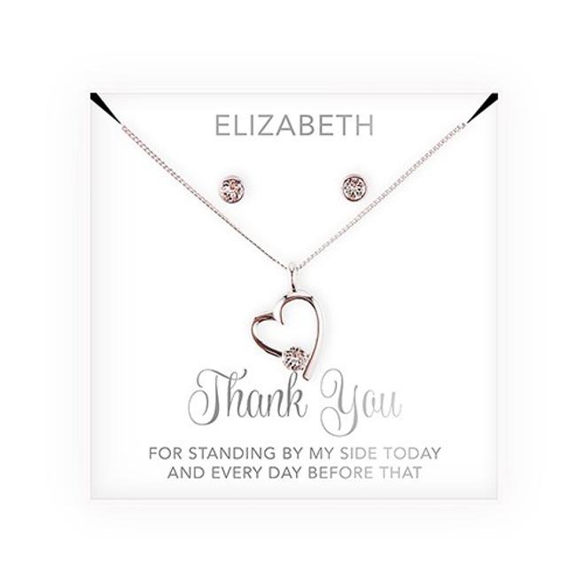 Swarovski Crystal Heart Jewelry Set - Bridesmaid Gift - Thank You Script
