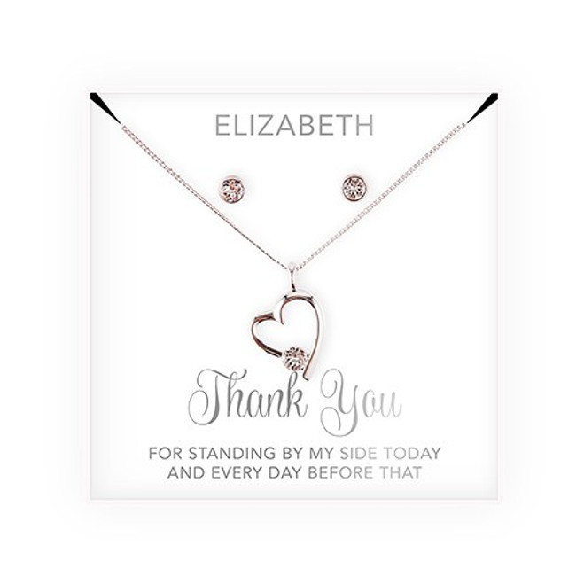 Swarovski Crystal Heart Jewelry Set - Bridesmaid Gift - Thank You Script