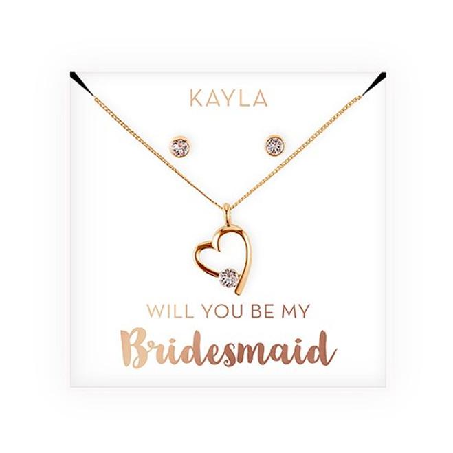 Swarovski Crystal Heart Jewelry Set - Bridesmaid Gift - Be My Bridesmaid?