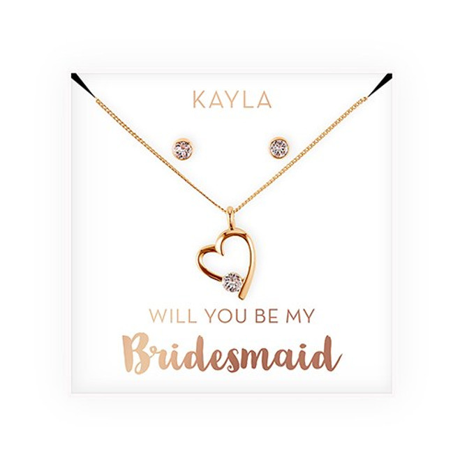 Swarovski Crystal Heart Jewelry Set - Bridesmaid Gift - Be My Bridesmaid?