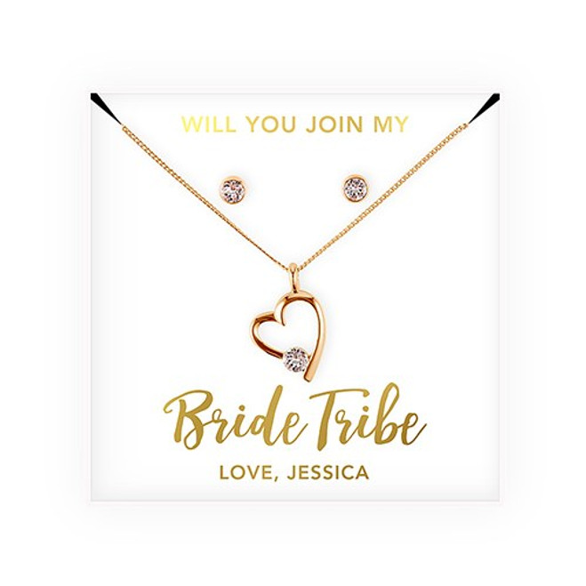 Swarovski Crystal Heart Jewelry Set - Bridesmaid Gift - Bride Tribe