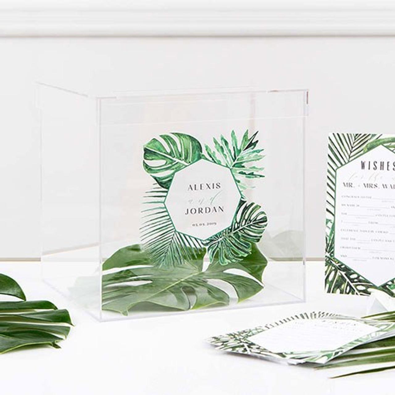 Wedding Wishing Well.Acrylic Wedding Wish Box Wishing Well Greenery Printing