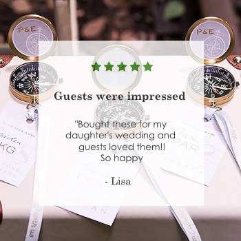 gold compass wedding favors