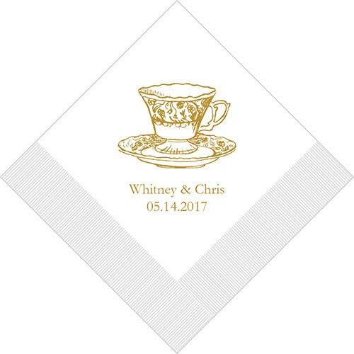 vintage tea cup personalized bridal shower napkins