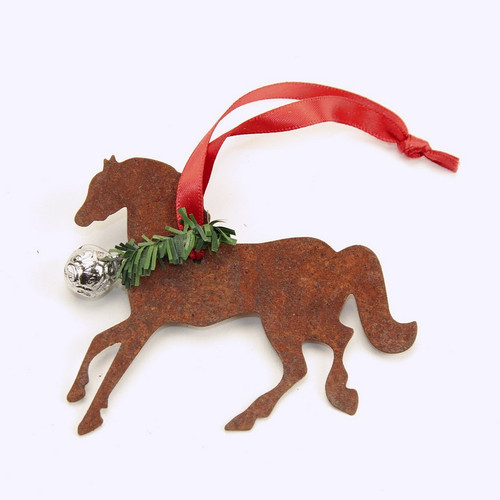 Rusty Tin Horse Ornament with silver bell