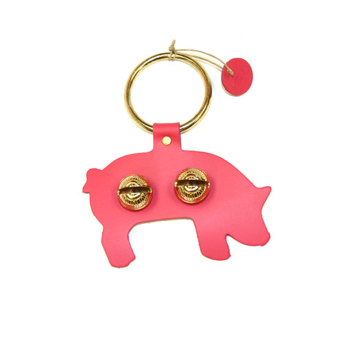Pink Leather with Brass Bells