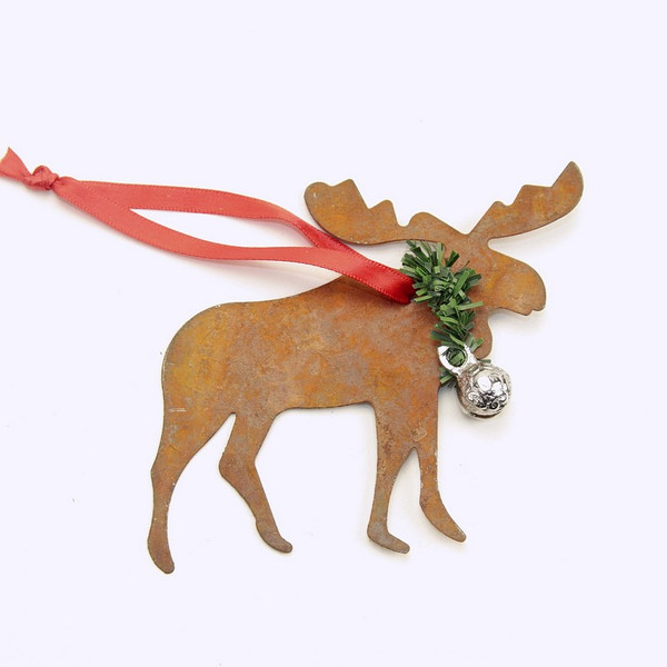 Rusty Tin Moose Ornament with silver bell